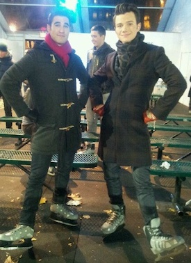 Glee's Darren Criss and Chris Colfer at Bryant Park in NYC