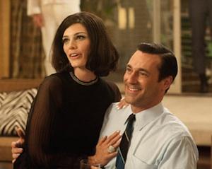 Megan Draper (Jessica Pare) and Don Draper (Jon Hamm) in Mad Men Season 5, Episode 1