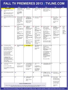 Fall TV Calendar Premieres