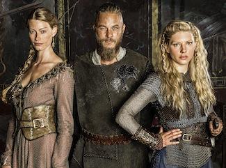 L to R_ Princess Aslaug (Alyssa Sutherland), Ragnar Lothbrok (Travis Fimmel) and Lagertha (Katheryn Winnick)