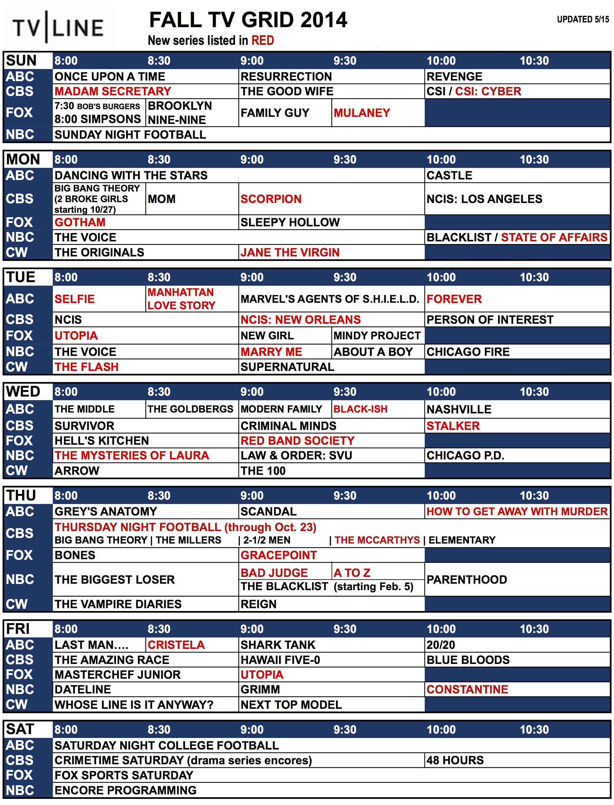 Fall Tv Schedule 2014 Network Tv Grid What S On And When Tvline
