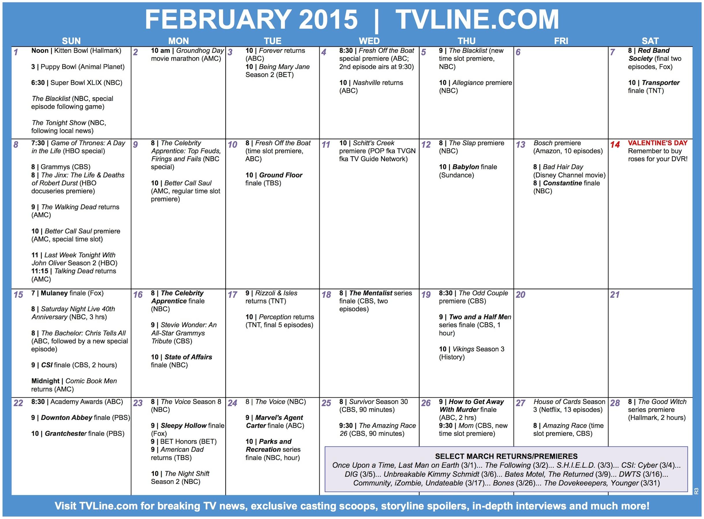 Season Finales 2022 Calendar.Tv Calendar February 2015 Premiere And Finale Dates Tvline