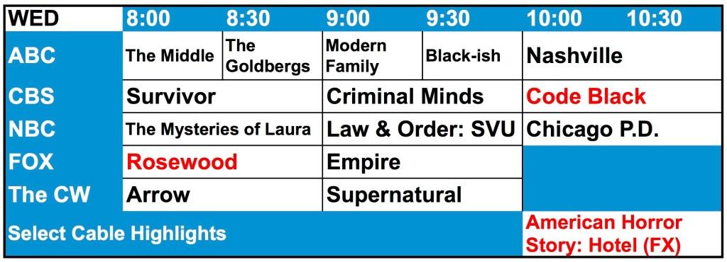 TV Calendar Fall 2015