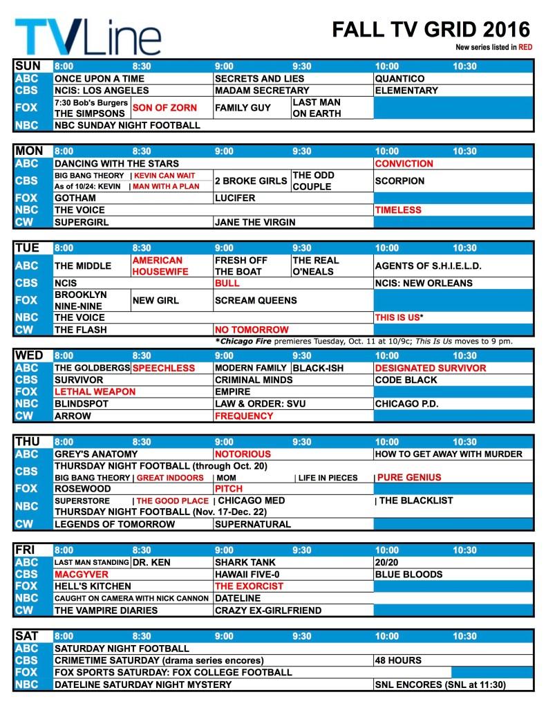 TV Schedule 2016 Fall