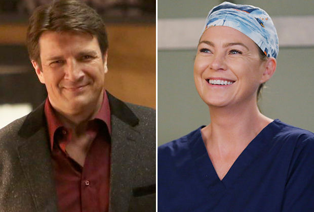 Nathan Fillion Castle Ellen Pompeo Grey's Anatomy