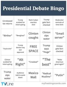 Presidential Debate Bingo Card
