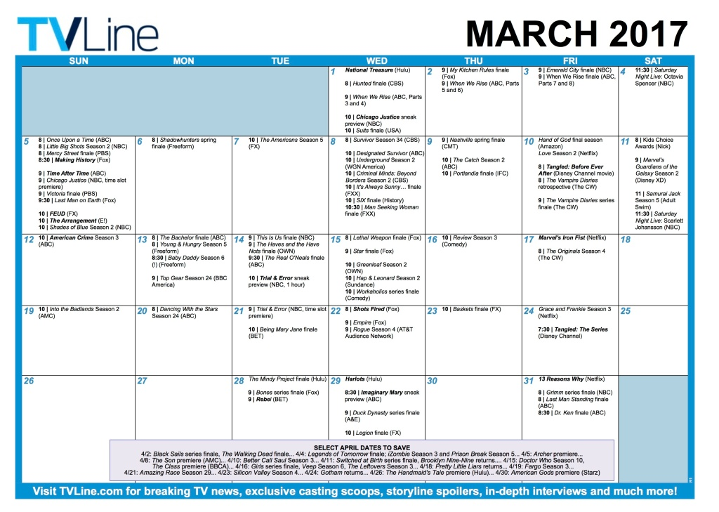TV Calendar March Premieres