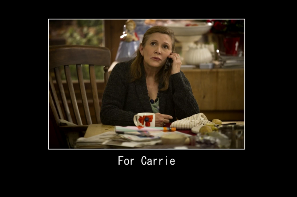 Carrie Fisher Catastrophe End Card Dedication Tribute
