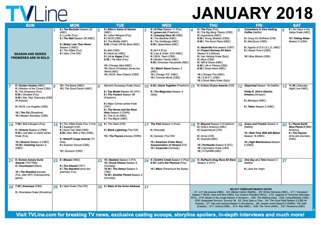 TV Calendar 2018