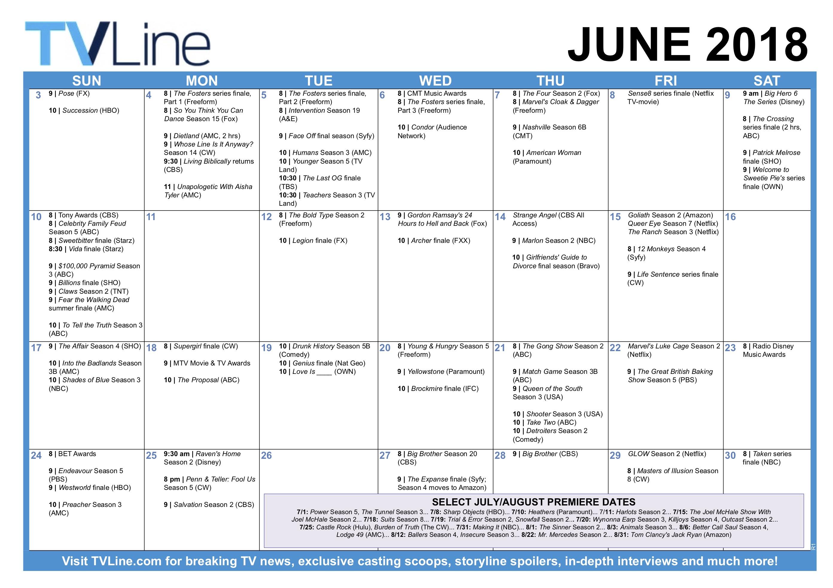 Summer TV Calendar