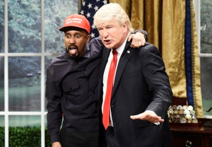 kanye west donald trump snl video
