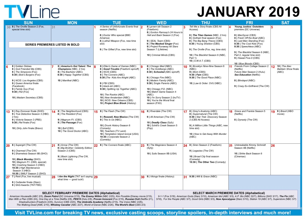 TV Schedule 2019