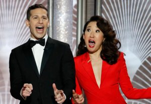 Golden Globes Sandra Oh & Andy Samberg Review Of 2019 Hosts
