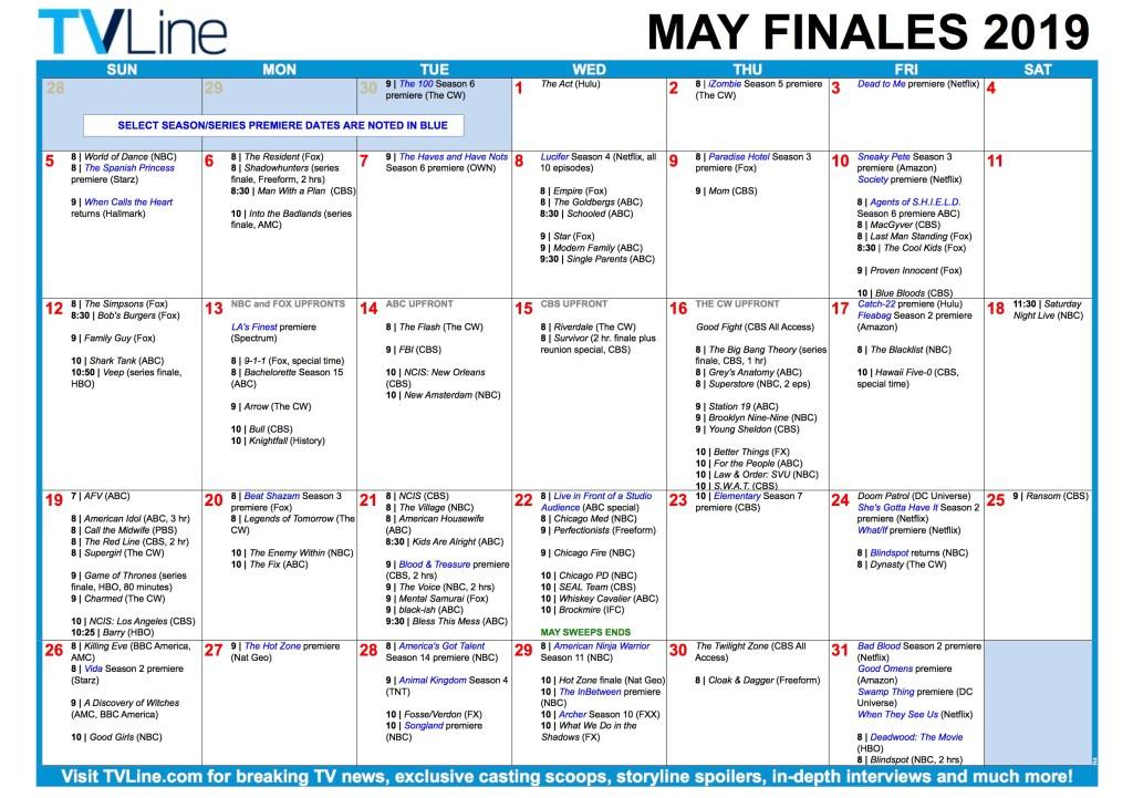 TV Calendar Finales