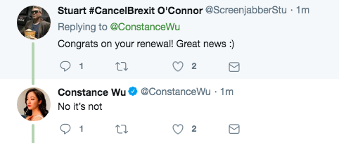 Constance Wu Fresh Off the Boat Renewal Tweet