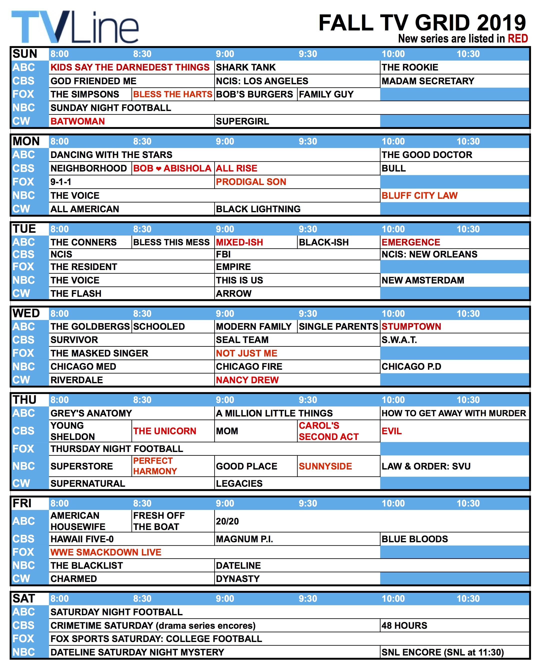 Fall Tv Schedule 2019 Network Tv Grid What S On When Tvline