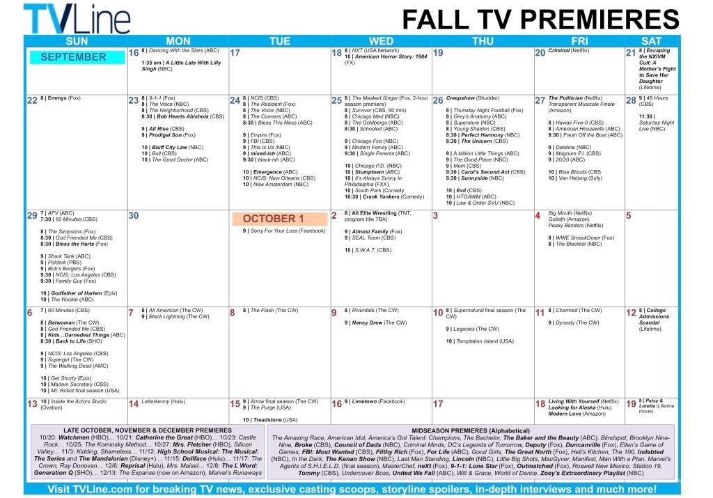 Fall TV Calendar 2019