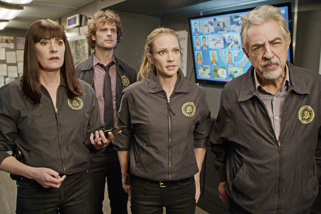 """Ghost""-- Following a series of fatal shootings, the BAU team travels to Des Plaines, Ill. to investigate what appears to be a copycat serial killer. Their efforts are thrown off track when members of the BAU are targeted, on CRIMINAL MINDS, Wednesday, Jan. 29 (9:00-10:00 PM, ET/PT) on the CBS Television Network.  Pictured (L-R): Paget Brewster as Emily Prentiss, Matthew Gray Gubler as Dr. Spencer Reid, A.J. Cook as Jennifer ""JJ"" Jareau, and Joe Mantegna as David Rossi  Photo: Screen Grab/CBS ©2019 CBS Broadcasting Inc. All Rights Reserved."