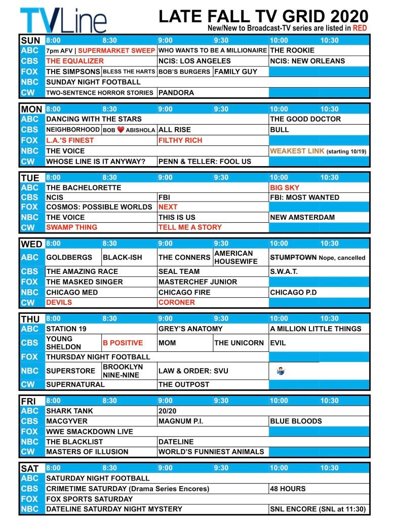 Fall TV Schedule 2020