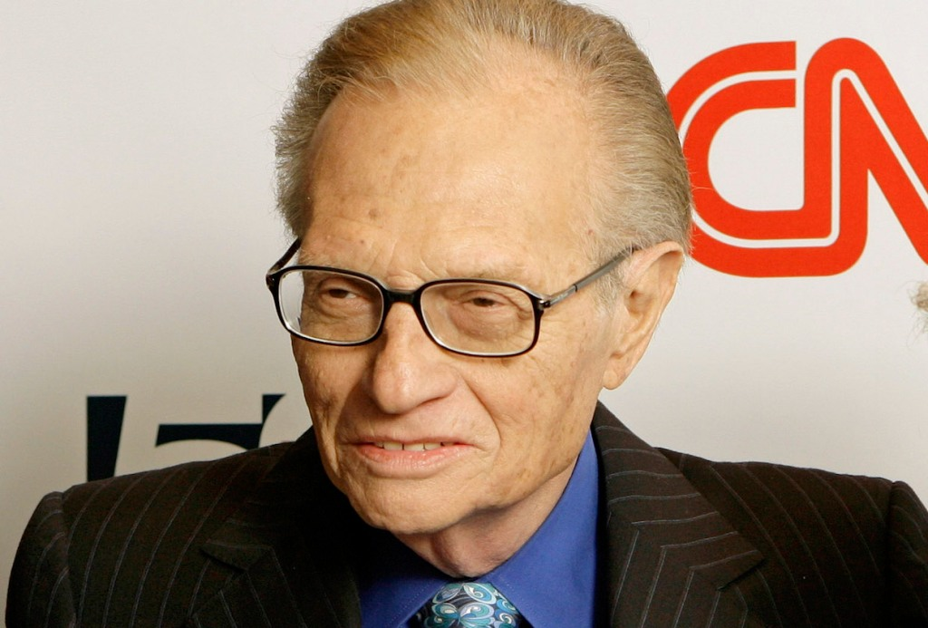 Larry King, left, stands next to Walter Cronkite, right, at a party held by CNN celebrating King's fifty years of broadcasting, New York, Wednesday, April 18, 2007. (AP Photo/Stuart Ramson)