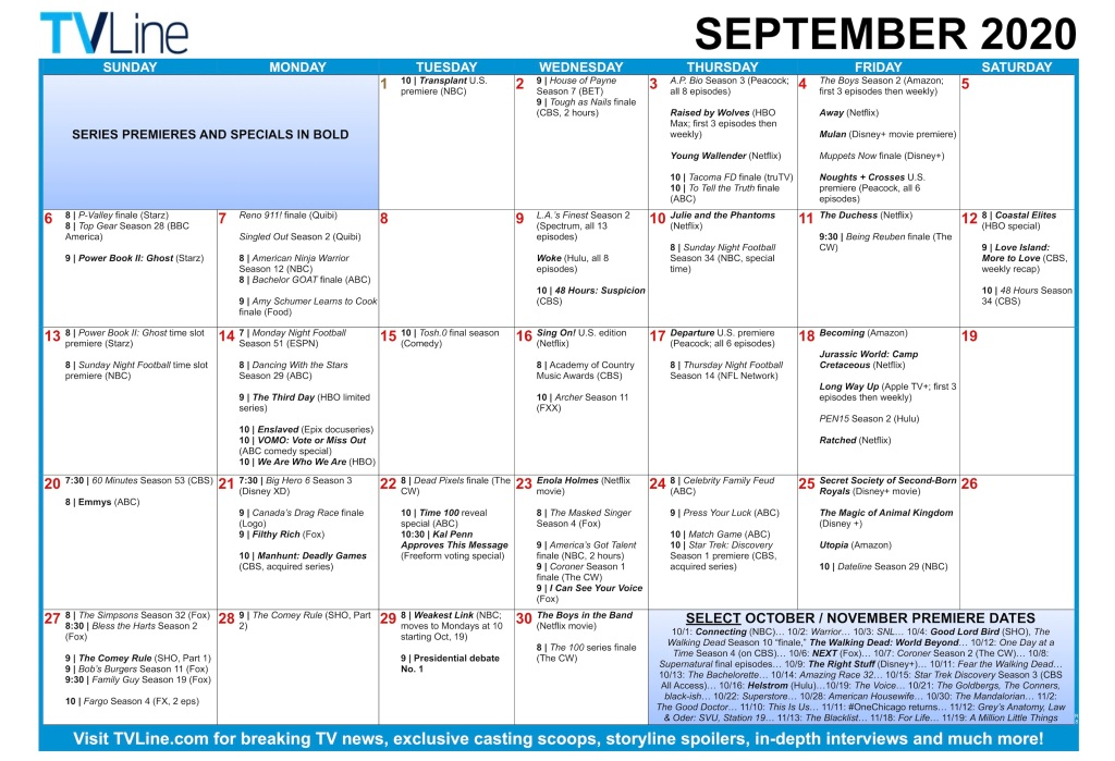 Fall TV Calendar 2020