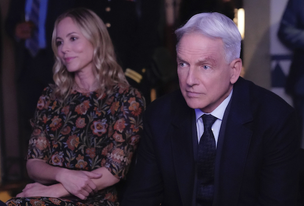 """Musical Chairs"" -- The NCIS team investigates the murder of a musician in the Navy's most elite band that performs at diplomatic events around the world, on NCIS, Tuesday, Nov. 19 (8:00-9:00 PM, ET/PT) on the CBS Television Network. Pictured:  Maria Bello as NCIS Special Agent Jaqueline ""Jack"" Sloane, Mark Harmon as NCIS Special Agent Leroy Jethro Gibbs. Photo: Greg Gayne/CBS ©2019 CBS Broadcasting, Inc. All Rights Reserved"