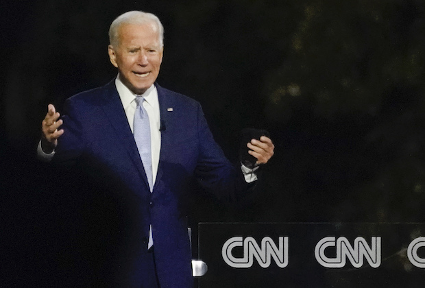 Democratic presidential candidate former Vice President Joe Biden participates in a CNN town hall moderated by Anderson Cooper in Moosic, Pa., Thursday, Sept. 17, 2020. (AP Photo/Carolyn Kaster)