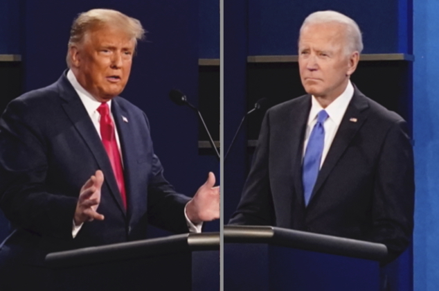 President Donald Trump, left, and Democratic presidential candidate former Vice President Joe Biden, left, during the second and final presidential debate Thursday, Oct. 22, 2020, at Belmont University in Nashville, Tenn. Seated in the center is moderator Kristen Welker of NBC News (AP Photo/Patrick Semansky)