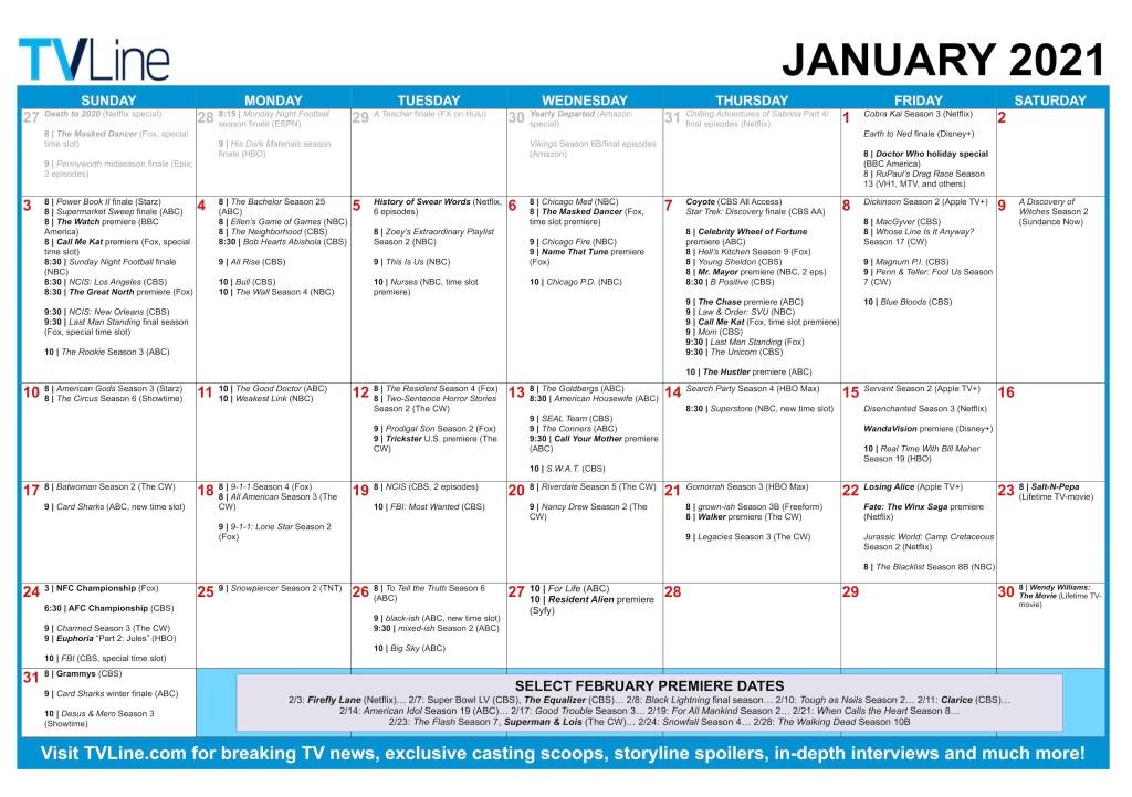 TV Calendar 2021