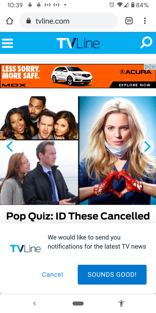 "An image of the TVLine.com homepage open in a mobile web browser. A notification at the bottom of the screen reads ""We would like to send you notifications for the latest TV news"" with one button on the left that says ""Cancel"" and a button on the right that says ""Sounds Good!"""