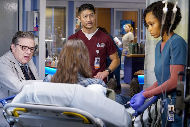 "CHICAGO MED -- ""Do You Know The Way Home"" Episode 603 -- Pictured: (l-r) Oliver Platt as Daniel Charles, Brian Tee as Ethan Choi, Yaya DeCosta as April Sexton -- (Photo by: Elizabeth Sisson/NBC)"