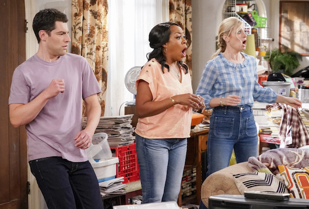"""Welcome to the Property"" - Pictured: Max Greenfield (Dave Johnson), Tichina Arnold (Tina Butler) and Beth Behrs (Gemma Johnson). When Calvin discovers a member of the community plans to sell to greedy developers, he vows to find a buyer closer to home instead. However, the Butlers and Johnsons soon realize that the dilapidated property will require more work than they expected, on THE NEIGHBORHOOD, Monday, Jan. 25 (8:00-8:30 PM, ET/PT) on the CBS Television Network. Photo: Monty Brinton/CBS ©2020 CBS Broadcasting, Inc. All Rights Reserved."