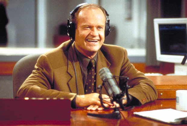 "385849 10: Actor Kelsey Grammer as Frasier Crane in NBC''s television comedy series ""Frasier."" Episode: ""Mary Christmas"" - As excitement builds over his hosting the holiday parade, Dr. Frasier Crane hosts his radio show. (Photo by Gale Adler/Paramount)"