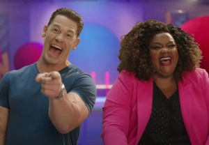John Cena and Nicole Byer in Wipeout