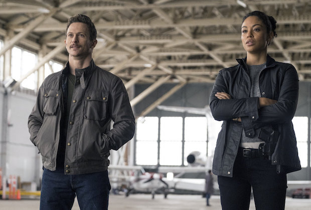 "DEBRIS -- ""Pilot"" Episode: 101 -- Pictured: (l-r) Jonathan Tucker as Vryan Benventi, Riann Steele as Finola Jones -- (Photo by: James Dittiger/NBC)"