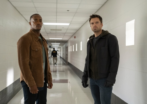 Anthony Mackie and Sebastian Stan in Falcon and the Winter Solider