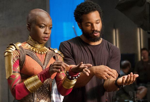 Ryan Coogler with Danai Gurira on 'Black Panther' set