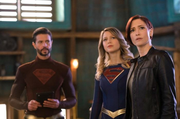 Jason Behr, Melissa Benoist as Supergirl and Chyler Leigh in Supergirl Season 6