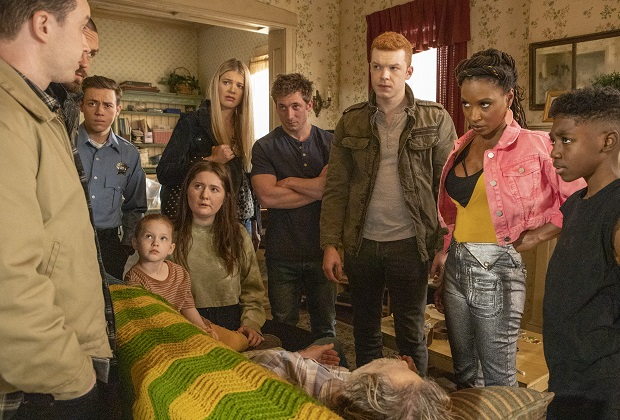 (L-R): Noel Fisher as Mickey Milkovich, Steve Howey as Kevin Ball, Ethan Cutkosky as Carl Gallagher, Emma Kenney as Debbie Gallagher, Kate Miner as Tami Tamietti, Jeremy Allen White as Lip Gallagher, Cameron Monaghan as Ian Gallagher, Shanola Hampton as Veronica Fisher and Christian Isaiah as Liam Gallagher in SHAMELESS, ÒFather Frank, Full of GraceÓ. Photo Credit: Paul Sarkis/SHOWTIME.