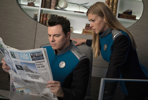 """THE ORVILLE:  L-R:  Seth MacFarlane and Adrianne Palicki in the """"Lasting Impressions"""" episode of THE ORVILLE airing Thursday, March 21 (9:00-10:00 PM ET/PT) on FOX. ©2018 Fox Broadcasting Co. Cr: Kevin Estrada/FOX"""