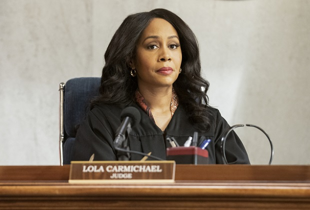 """Hear My Voice"" – Lola finds herself in the judicial hotseat when she presides over the case of former Sherriff Wayne McCarthy (Louis Herthum), and struggles because she and Mark can't talk to each other outside the courtroom. Also, Detective Rashel (Nick Wechsler) and other cops come forward to speak against McCarthy, but Corinne (Anne Heche) continues to turn their testimonies against them, and Luke demands that Mark allow him to take the stand, on ALL RISE, Monday, May 10 (9:00- 10:00 PM, ET/PT), on the CBS Television Network.  Pictured: Simone Missick as Lola Carmichael Photo: Erik Voake/CBS ©2021 CBS Broadcasting, Inc. All Rights Reserved."