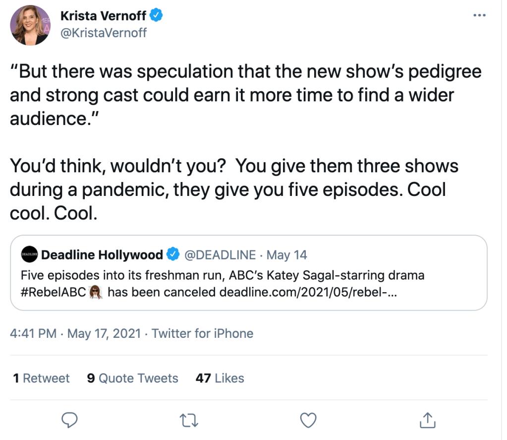 """Sulla cancellazione di Rebel scontro aperto tra la showrunner di Grey's Anatomy e ABC: """"Dai 3 serie, ti danno 5 episodi"""""""