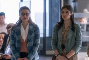 Melissa Benoist and Nicole Maines in Supergirl Season 6