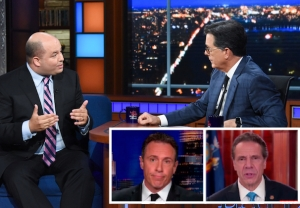 Brian Stelter on Colbert discussing Cuomo
