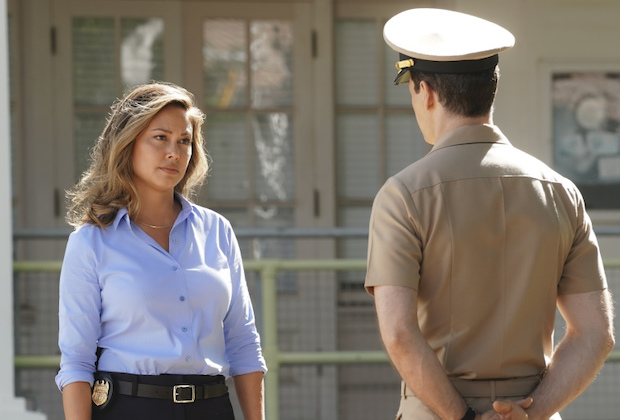 """""""Pilot"""" – Vanessa Lachey stars as Special Agent in Charge of NCIS Pearl Harbor Jane Tennant, who, with her unwavering team of specialists, balance duty family and country while investigating high-stakes crimes involving military personnel, national security and the mysteries of the sun-drenched island paradise itself, on the series premiere of NCIS: HAWAI`I, Monday, Sept. 20 (10:00-11:00 PM, ET/PT) on the CBS Television Network. Pictured: Vanessa Lachey as NCIS Special Agent in Charge Jane Tennant.  Enver Gjokaj as Captain Milius. Photo: Karen Neal/CBS ©2021 CBS Broadcasting, Inc. All Rights Reserved."""