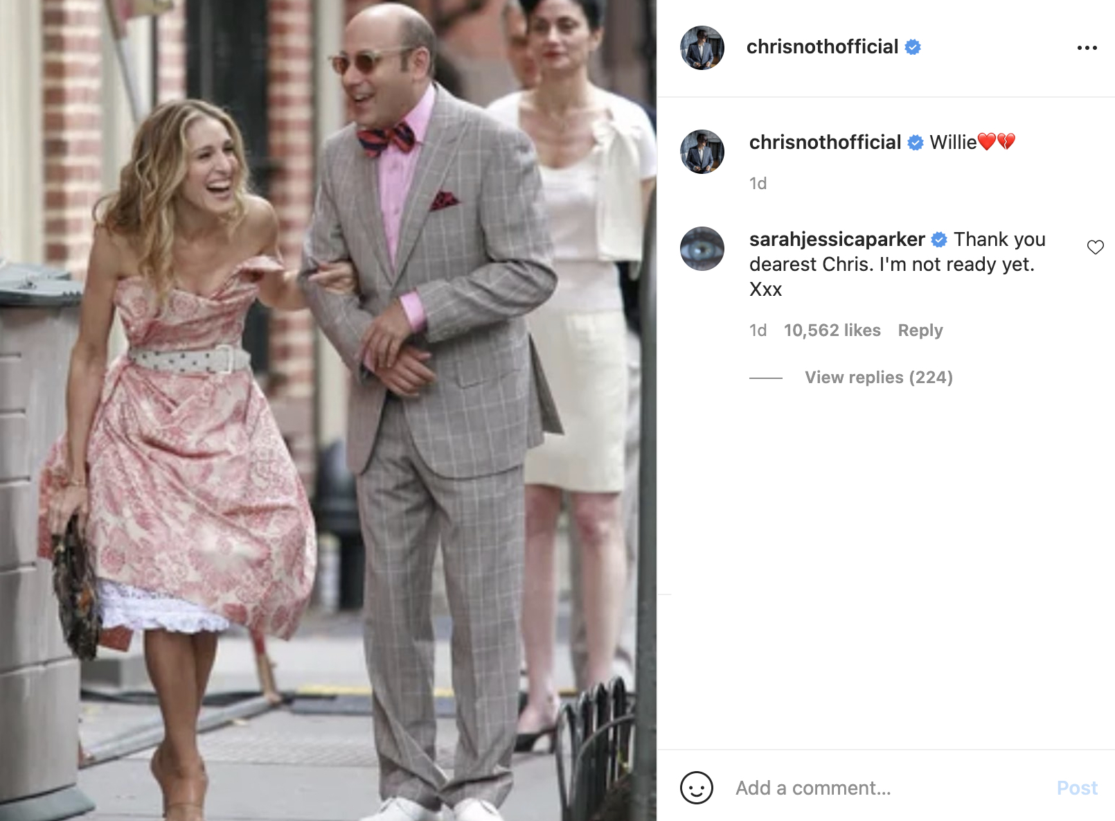 Sarah Jessica Parker, Chris Noth on Instagram about Willie Garson