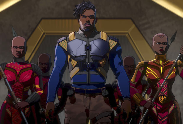 Killmonger and the Dora Milaje in Marvel Studios' WHAT IF…? exclusively on Disney+. ©Marvel Studios 2021. All Rights Reserved.