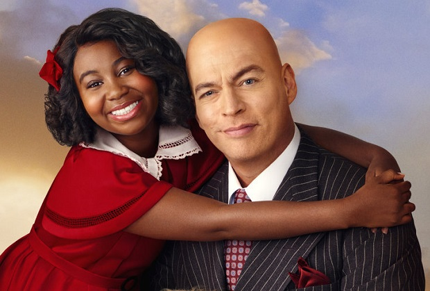 ANNIE LIVE! -- Season: 2021 -- Pictured: (l-r) Celina Smith as Annie, Sandy as Sandy the dog, Harry Connick, Jr. as Daddy Warbucks  -- (Photo by: Paul Gilmore/NBC)