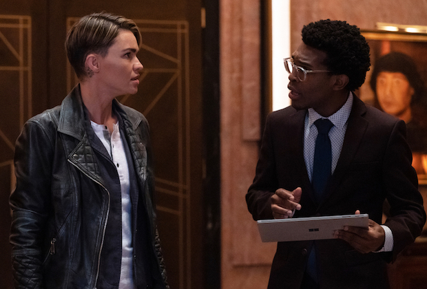"""Batwoman -- """"Take Your Choice"""" -- Image Number: BWN112c_0281b.jpg -- Pictured (L-R): Ruby Rose as Kate Kane/Batwoman and Camrus Johnson as Luke Fox -- Photo: Katie Yu/The CW -- © 2020 The CW Network, LLC. All rights reserved."""