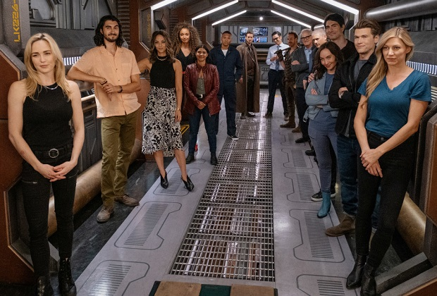 """Legends of Tomorrow -- """"wvrdr_error_100 not found"""" -- Image Number: LGN703a_0318r.jpg -- Pictured (L-R): Behind the scenes with Caity Lotz, Shayan Sobhian , Tala Ashe, Olivia Swan, Lisseth Chavez, Franz Drameh, Arthur Darvil, Adam Tsekhman, Falk Hentschel, Victor Garber, Wentworth Miller, Brandon Routh, Courtney Ford, Nick Zano and Jes Macallan --  Photo: Jeff Weddell/The CW -- © 2021 The CW Network, LLC. All Rights Reserved."""